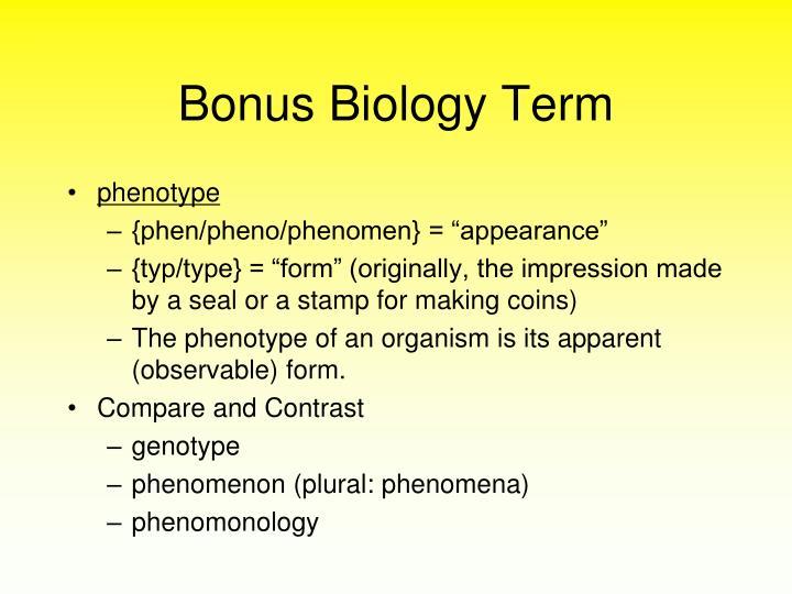 Bonus Biology Term