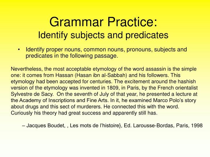 Grammar Practice: