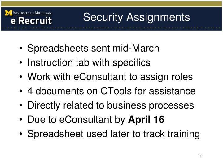 Security Assignments