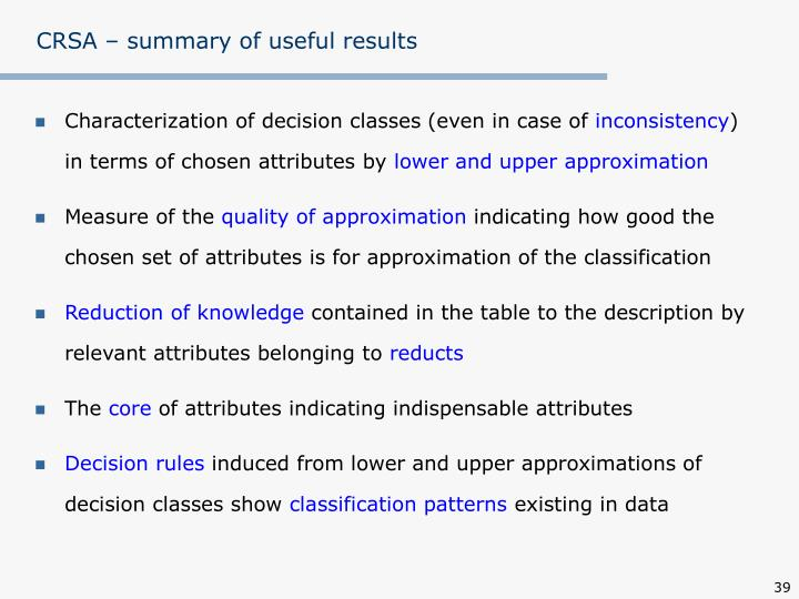 CRSA – summary of useful results