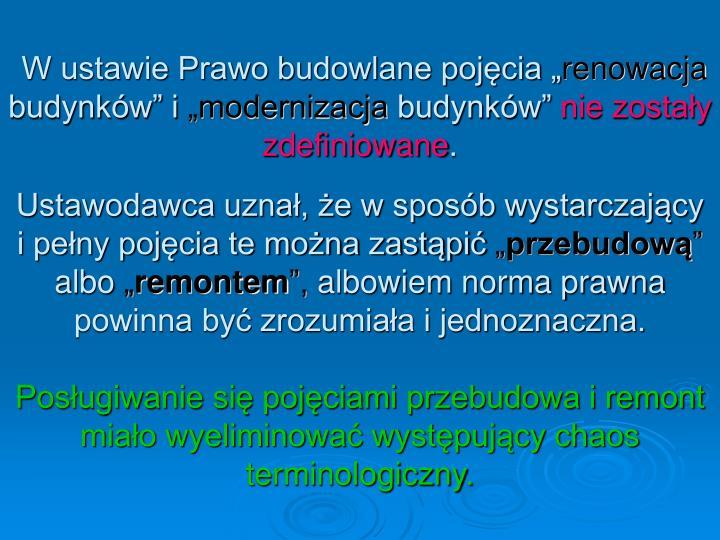 """W ustawie Prawo budowlane pojęcia """""""