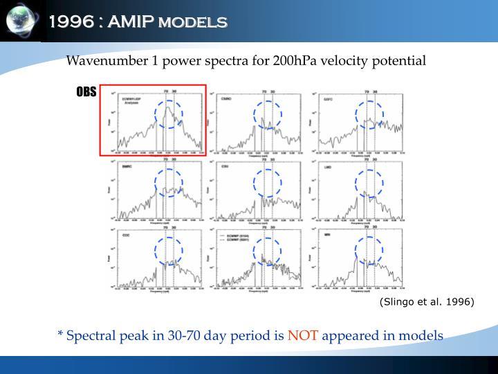 1996 : AMIP models