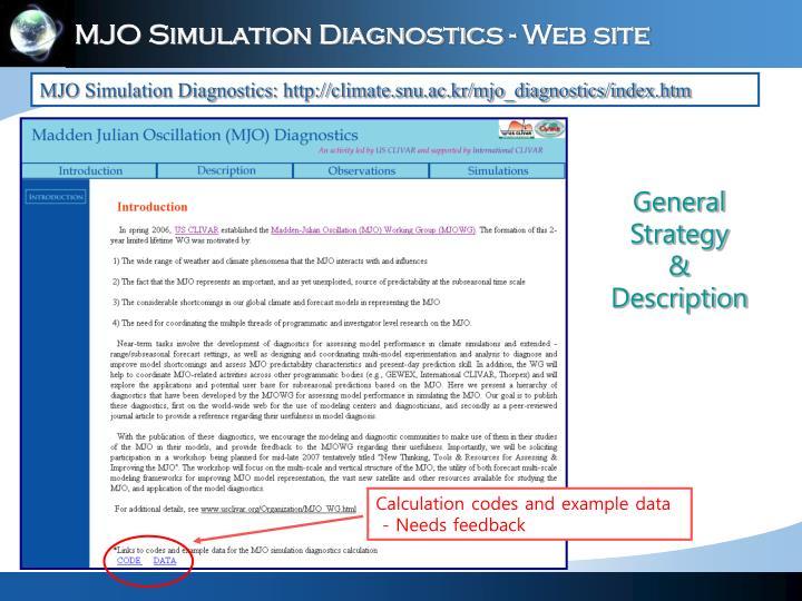 MJO Simulation Diagnostics - Web site