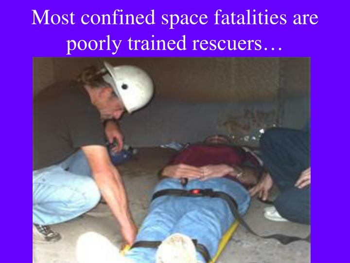 Most confined space fatalities are poorly trained rescuers