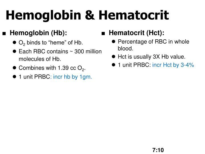 Hemoglobin (Hb):