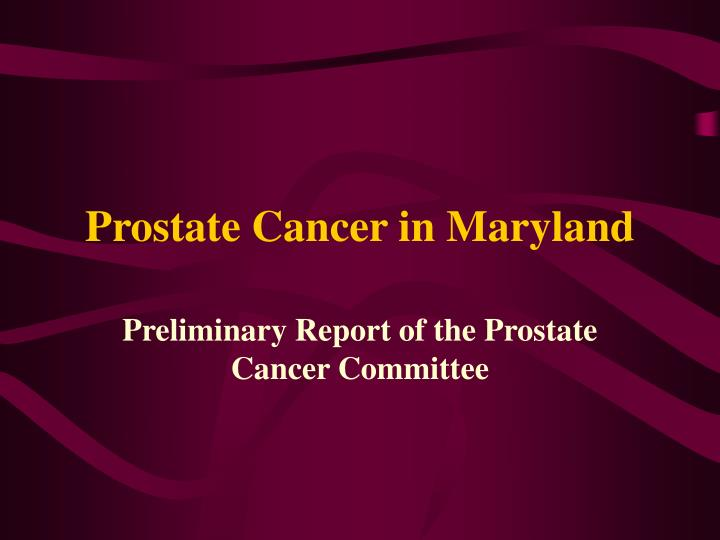 Prostate Cancer in Maryland