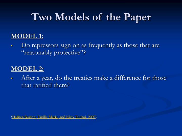 Two Models of the Paper