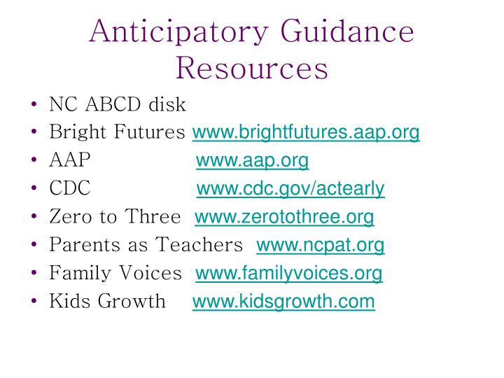 Anticipatory Guidance Resources