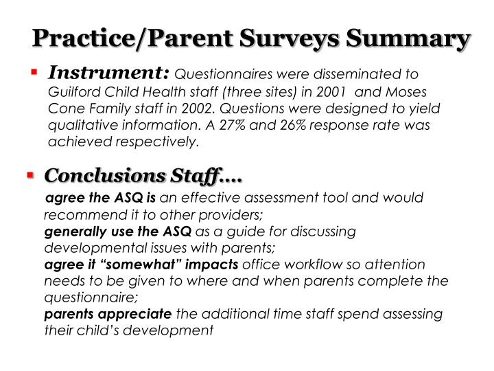 Practice/Parent Surveys Summary