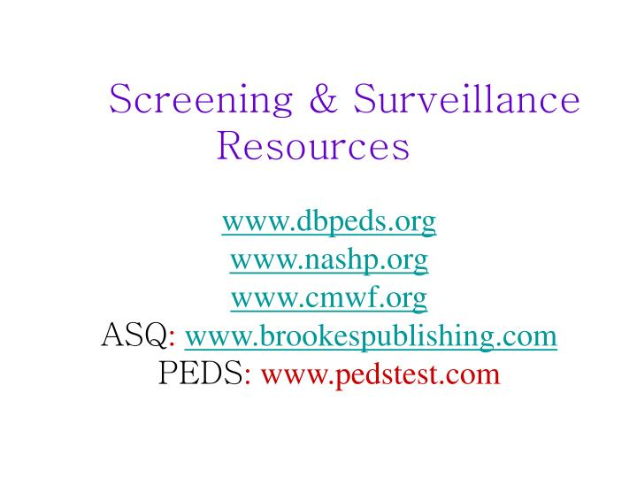 Screening & Surveillance Resources