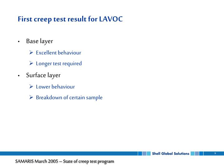 First creep test result for LAVOC