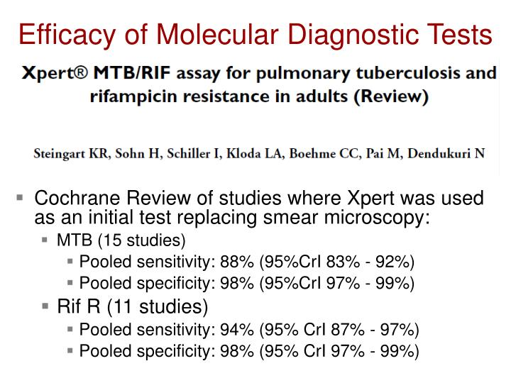 Efficacy of molecular diagnostic tests