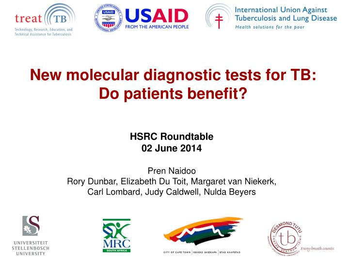 New molecular diagnostic tests for tb do patients benefit