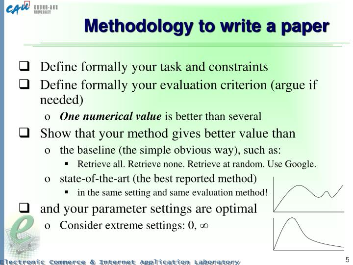 Methodology to write a paper