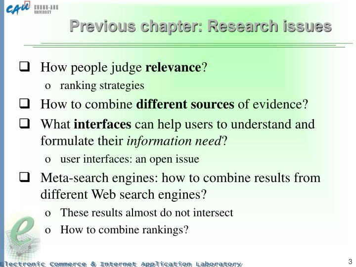 Previous chapter research issues