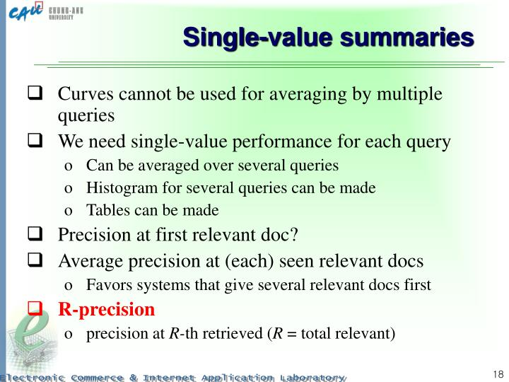Single-value summaries