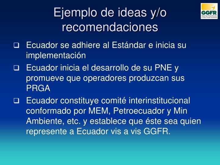 Ejemplo de ideas y/o recomendaciones