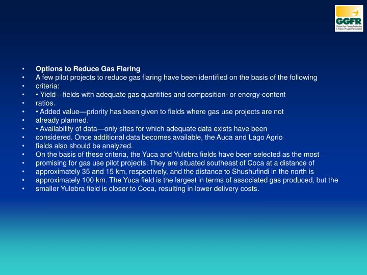 Options to Reduce Gas Flaring