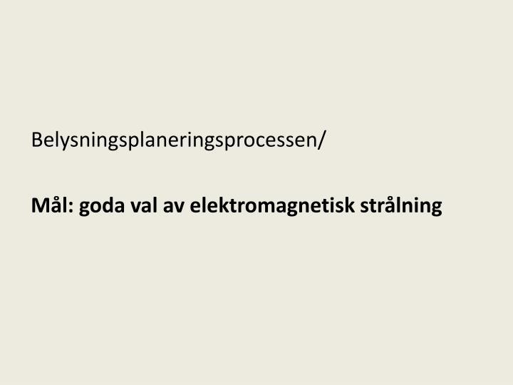Belysningsplaneringsprocessen/