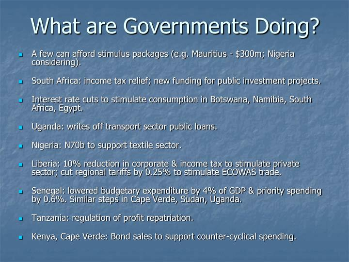 What are Governments Doing?