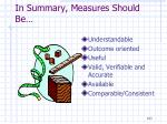 in summary measures should be