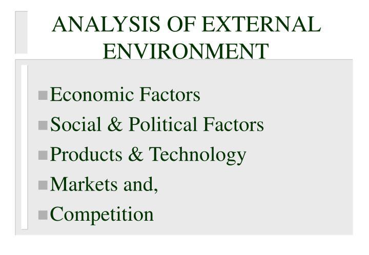 ANALYSIS OF EXTERNAL ENVIRONMENT