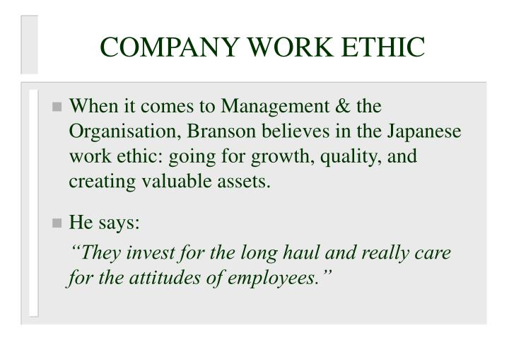 COMPANY WORK ETHIC
