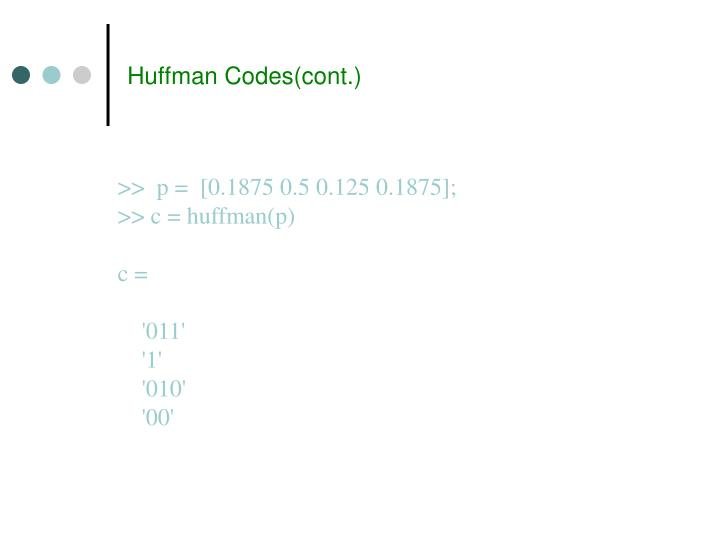 Huffman Codes(cont.)