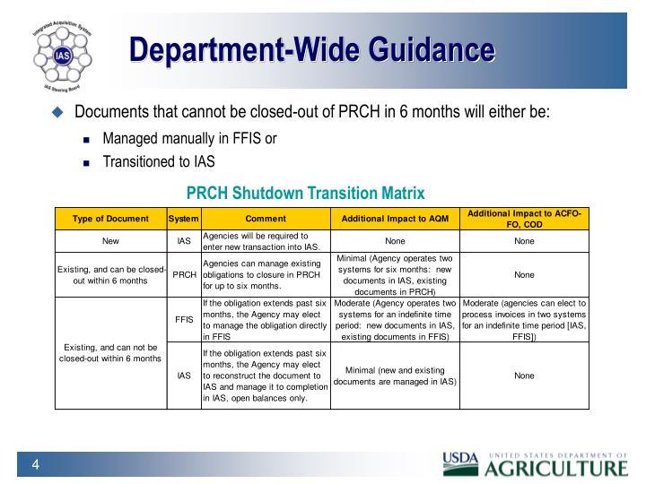 Department-Wide Guidance