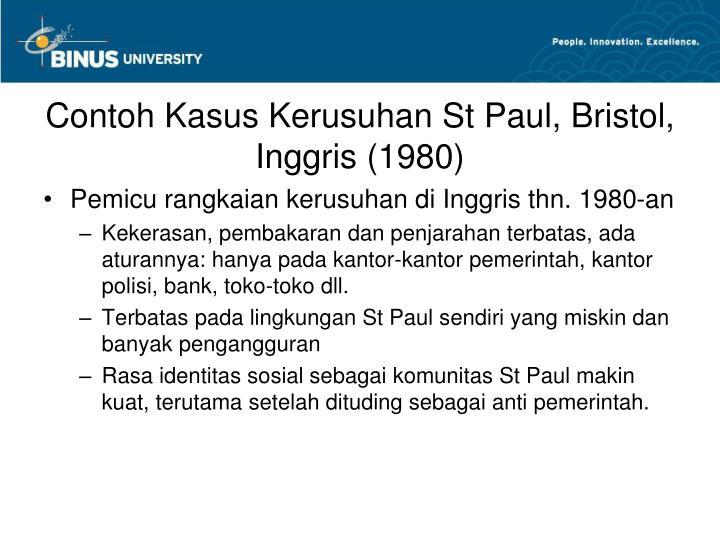 Contoh Kasus Kerusuhan St Paul, Bristol, Inggris (1980)