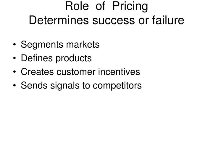 Role  of  Pricing
