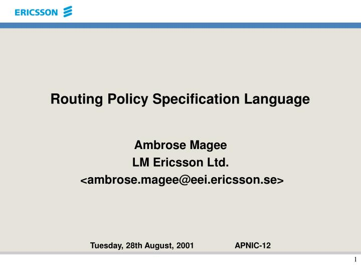 routing policy specification language n.