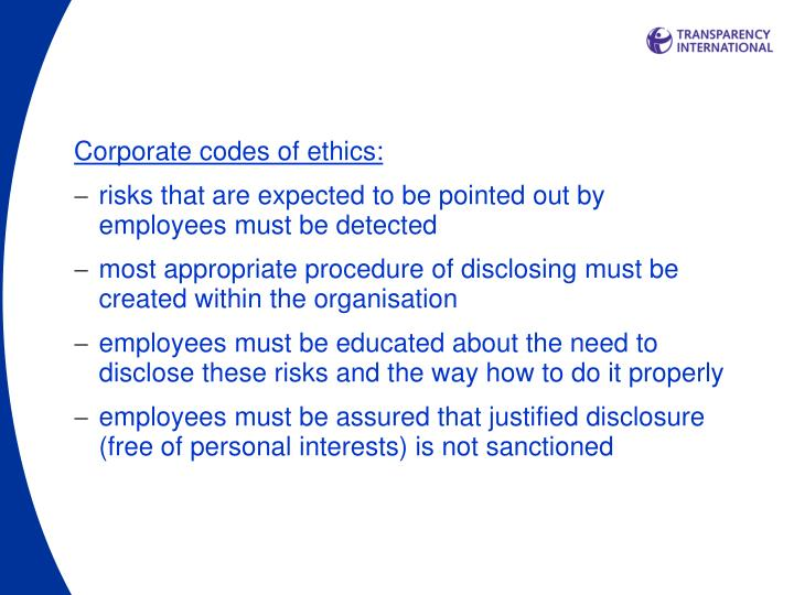 Corporate codes of ethics: