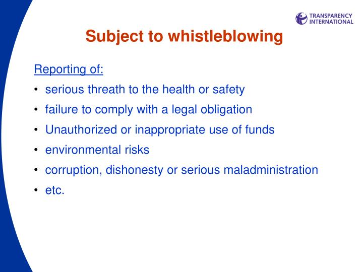Subject to whistleblowing