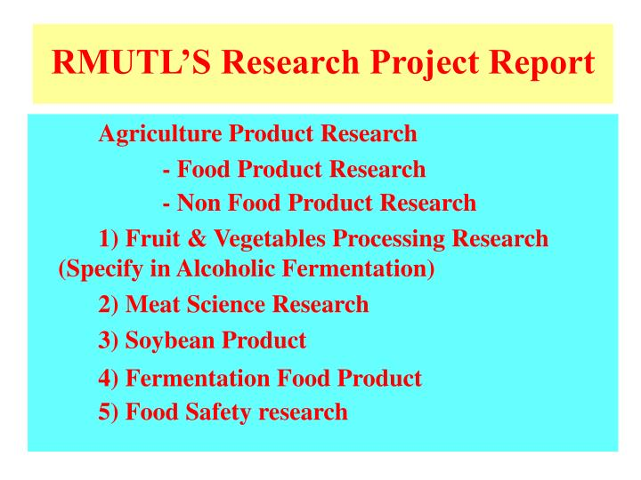 RMUTL'S Research Project Report