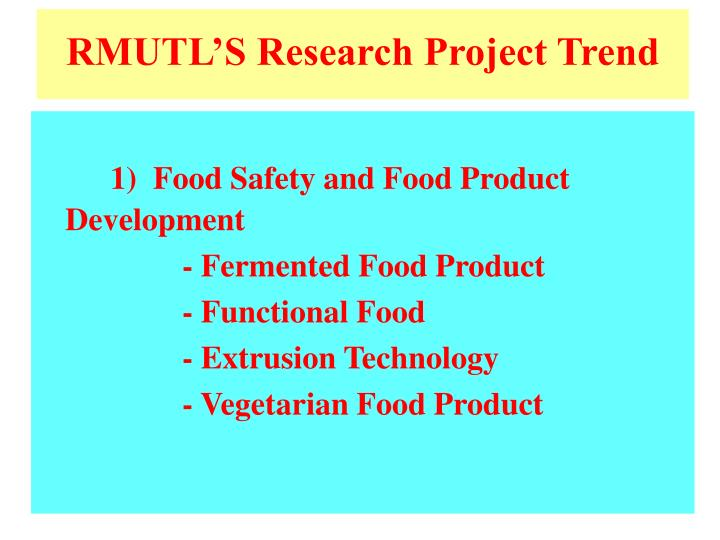RMUTL'S Research Project Trend