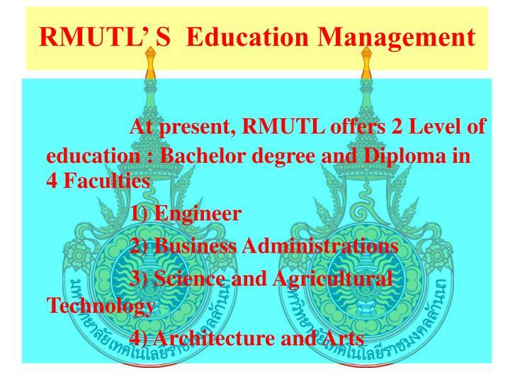 RMUTL' S  Education Management