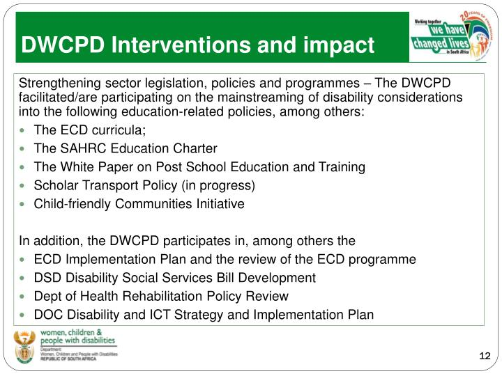 DWCPD Interventions and impact