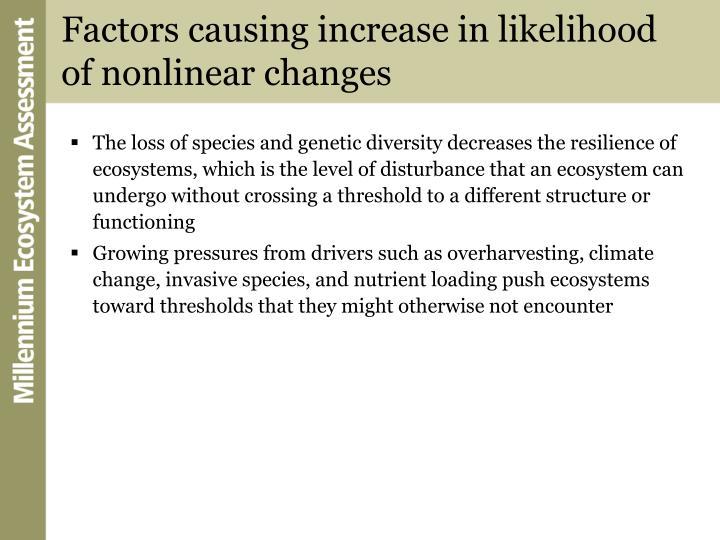 Factors causing increase in likelihood of nonlinear changes