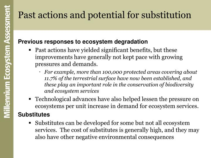 Past actions and potential for substitution