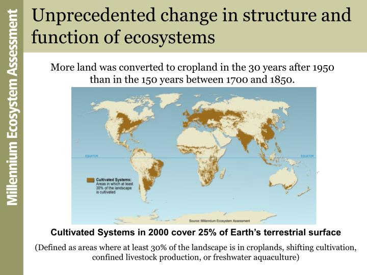 Unprecedented change in structure and function of ecosystems