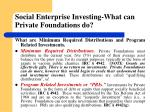 social enterprise investing what can private foundations do