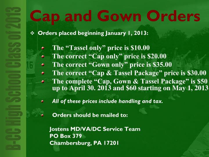 Orders placed beginning January 1, 2013: