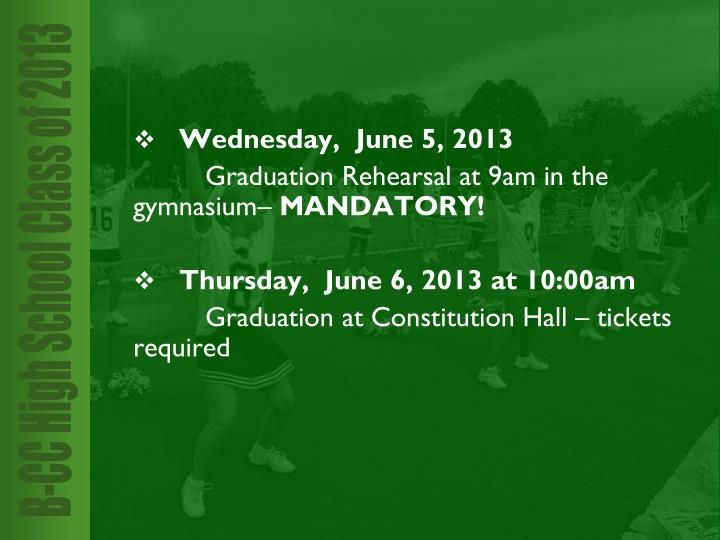Wednesday,  June 5, 2013