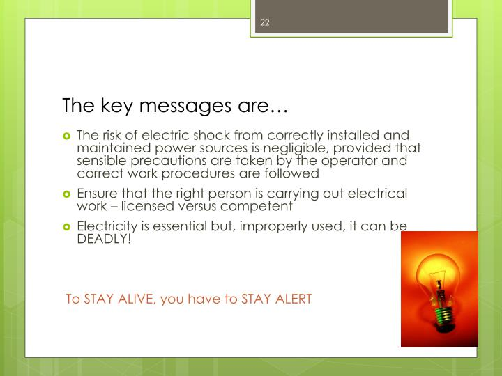 The key messages are…