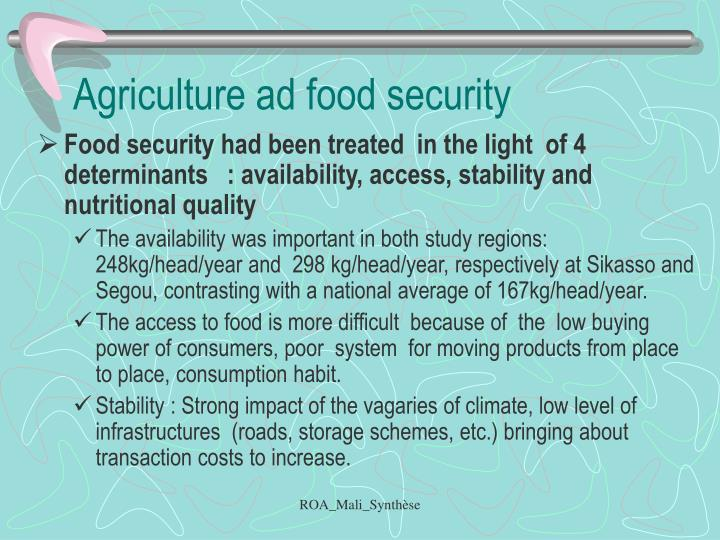Agriculture ad food security