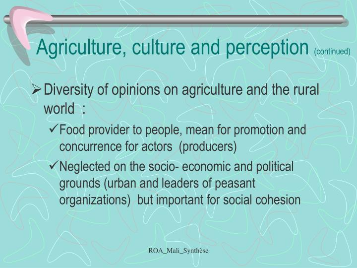 Agriculture, culture and perception