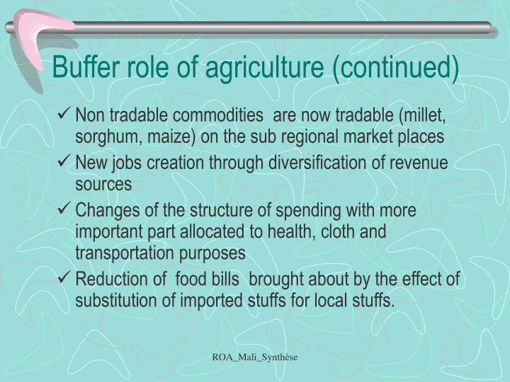 Buffer role of agriculture (continued)