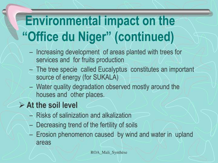 "Environmental impact on the ""Office du Niger"" (continued)"