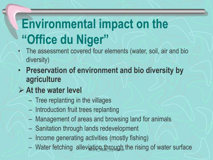 "Environmental impact on the ""Office du Niger"""